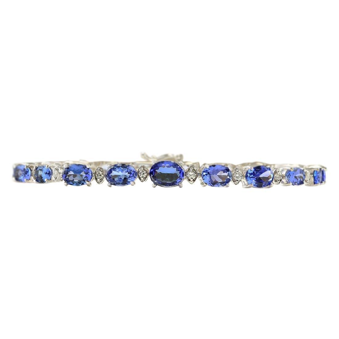 11.80 CTW Natural Tanzanite And Diamond Bracelet In 18K