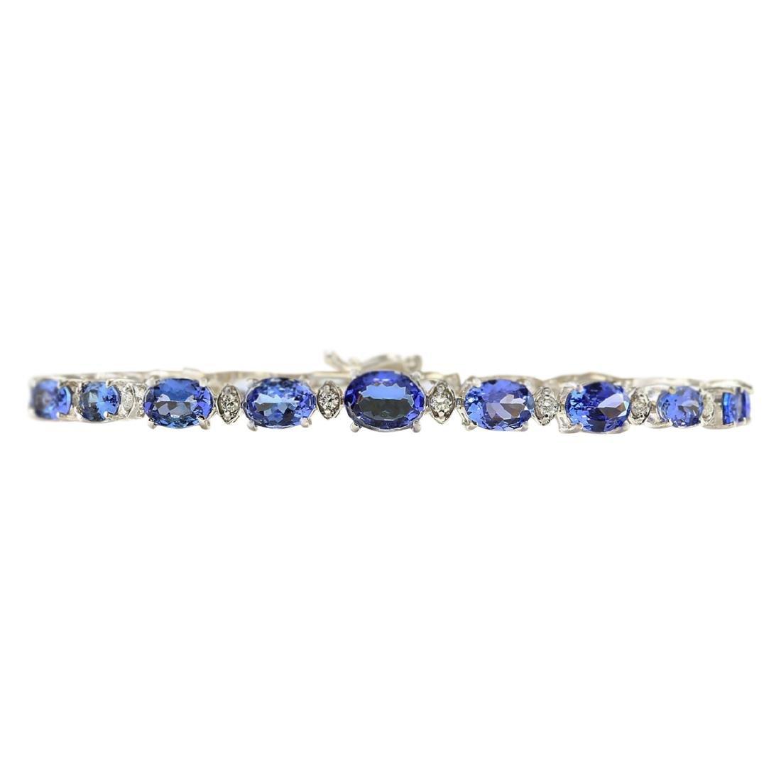 11.80 CTW Natural Tanzanite And Diamond Bracelet In 18K