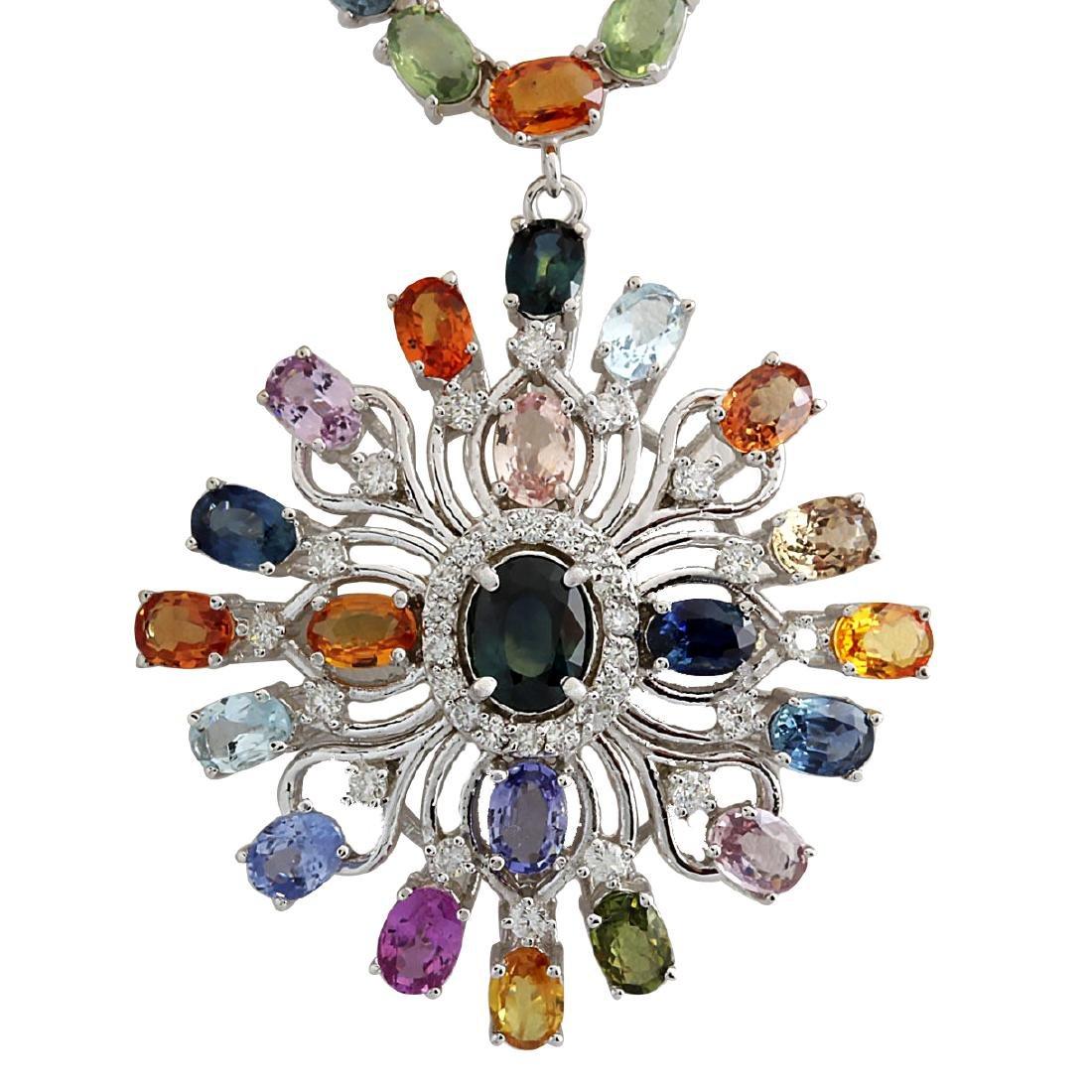 52.90CTW Natural Ceylon Sapphire And Diamond Necklace
