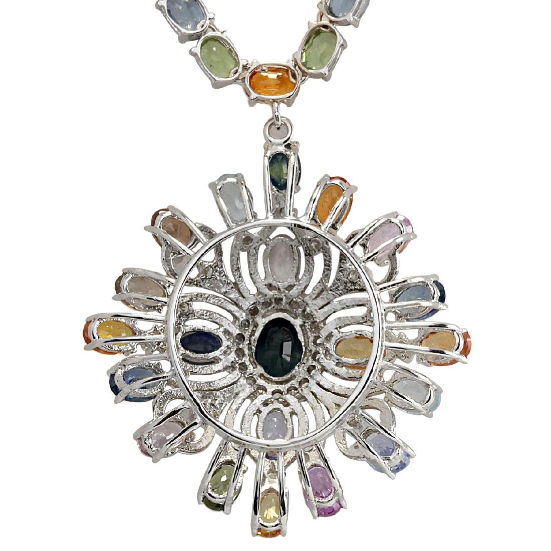 52.90CTW Natural Ceylon Sapphire And Diamond Necklace - 2