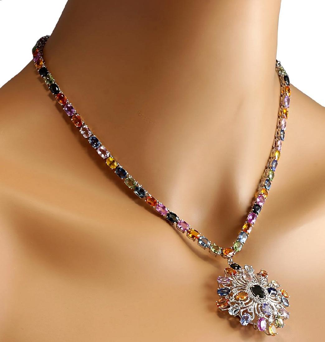 52.90CTW Natural Ceylon Sapphire And Diamond Necklace - 4