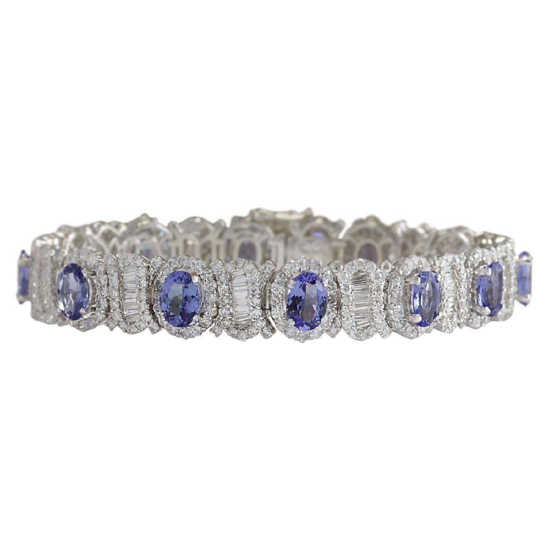 24.70 CTW Natural Tanzanite And Diamond Bracelet In 18K
