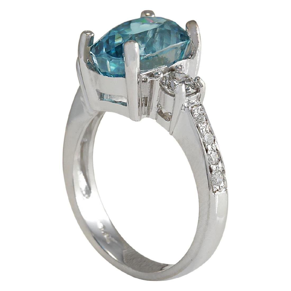 7.65 CTW Natural Blue Zircon And Diamond Ring 18K Solid - 3