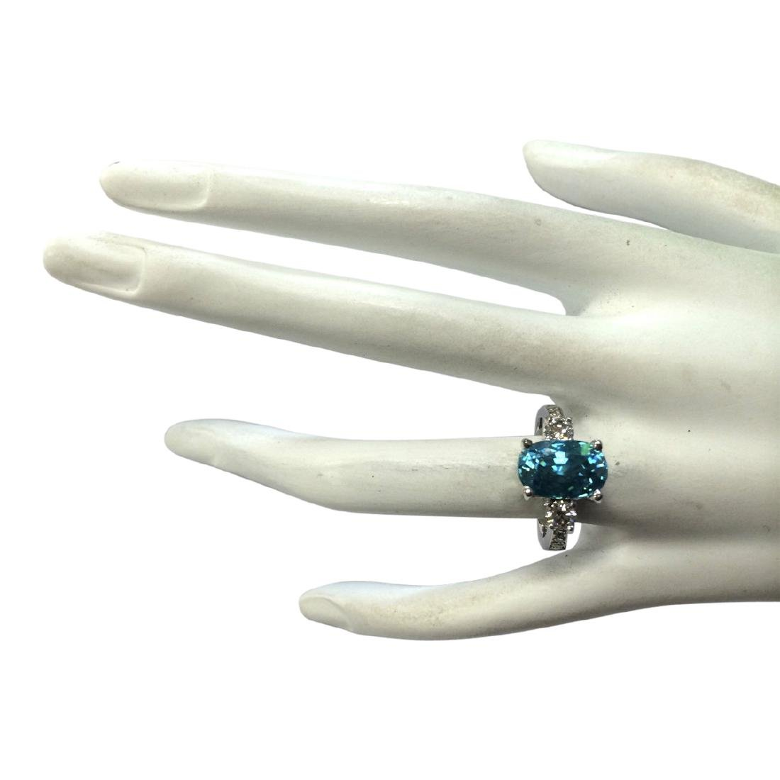 7.65 CTW Natural Blue Zircon And Diamond Ring 18K Solid - 4