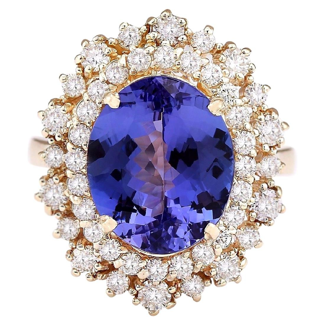 6.95 CTW Natural Tanzanite And Diamond Ring In 18K