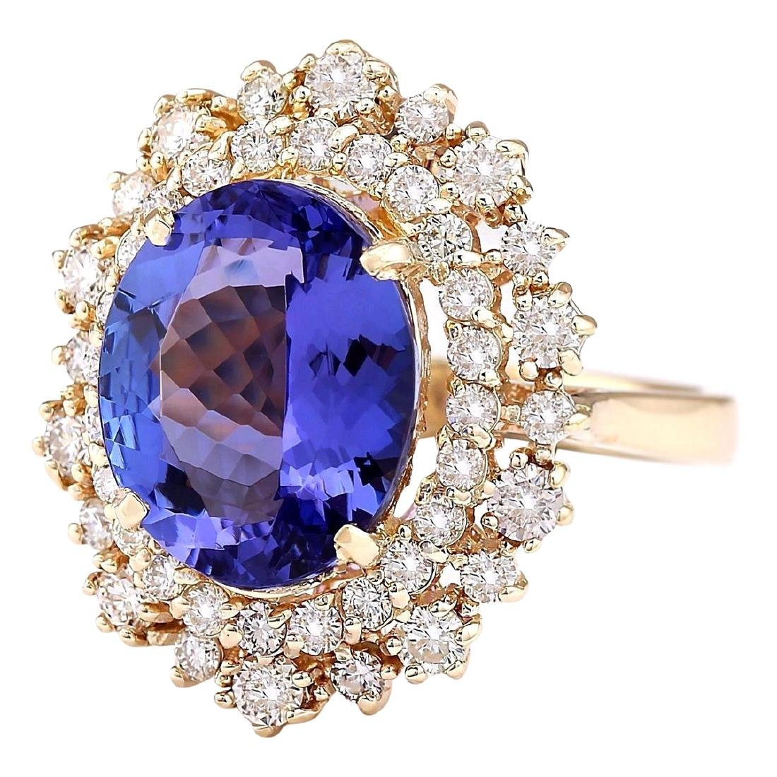 6.95 CTW Natural Tanzanite And Diamond Ring In 18K - 2