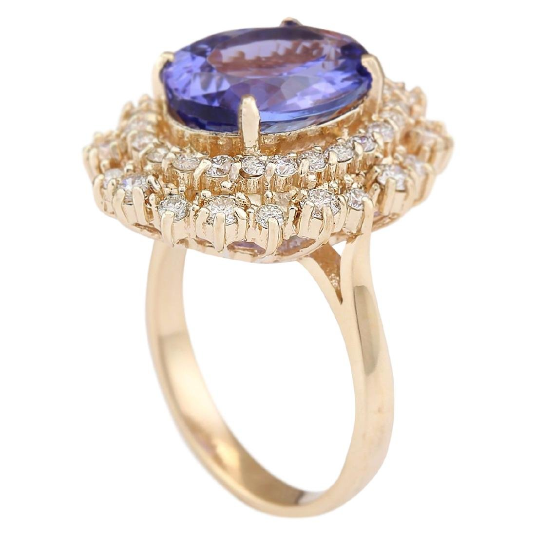 6.95 CTW Natural Tanzanite And Diamond Ring In 18K - 3