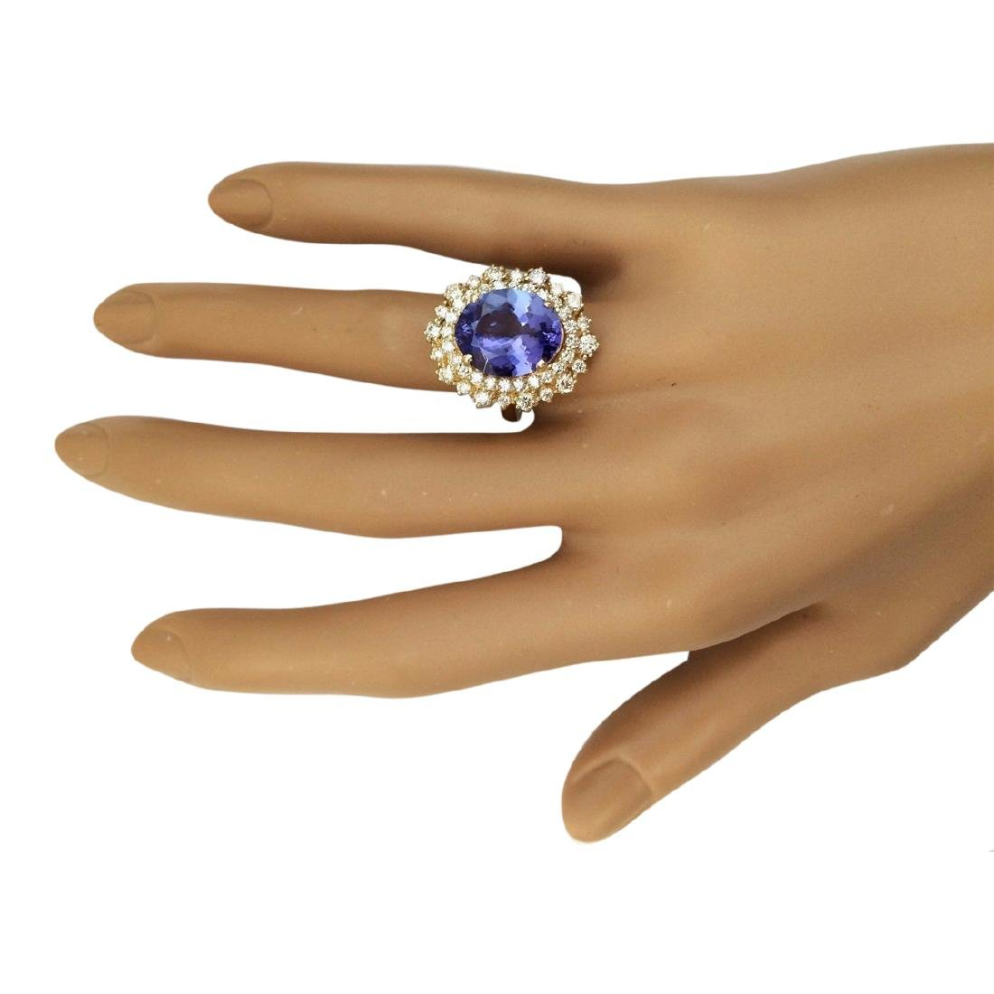 6.95 CTW Natural Tanzanite And Diamond Ring In 18K - 4
