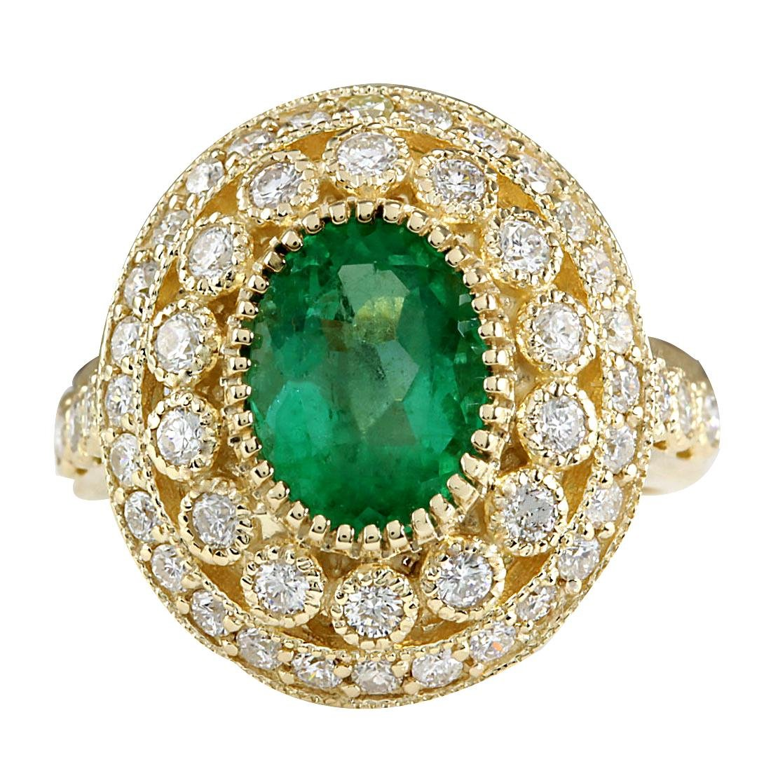 3.16CTW Natural Colombian Emerald And Diamond Ring In