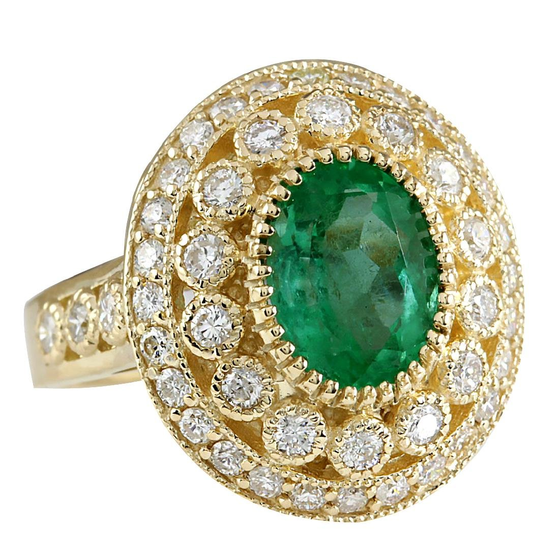 3.16CTW Natural Colombian Emerald And Diamond Ring In - 2