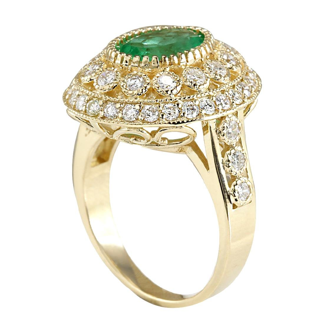 3.16CTW Natural Colombian Emerald And Diamond Ring In - 3