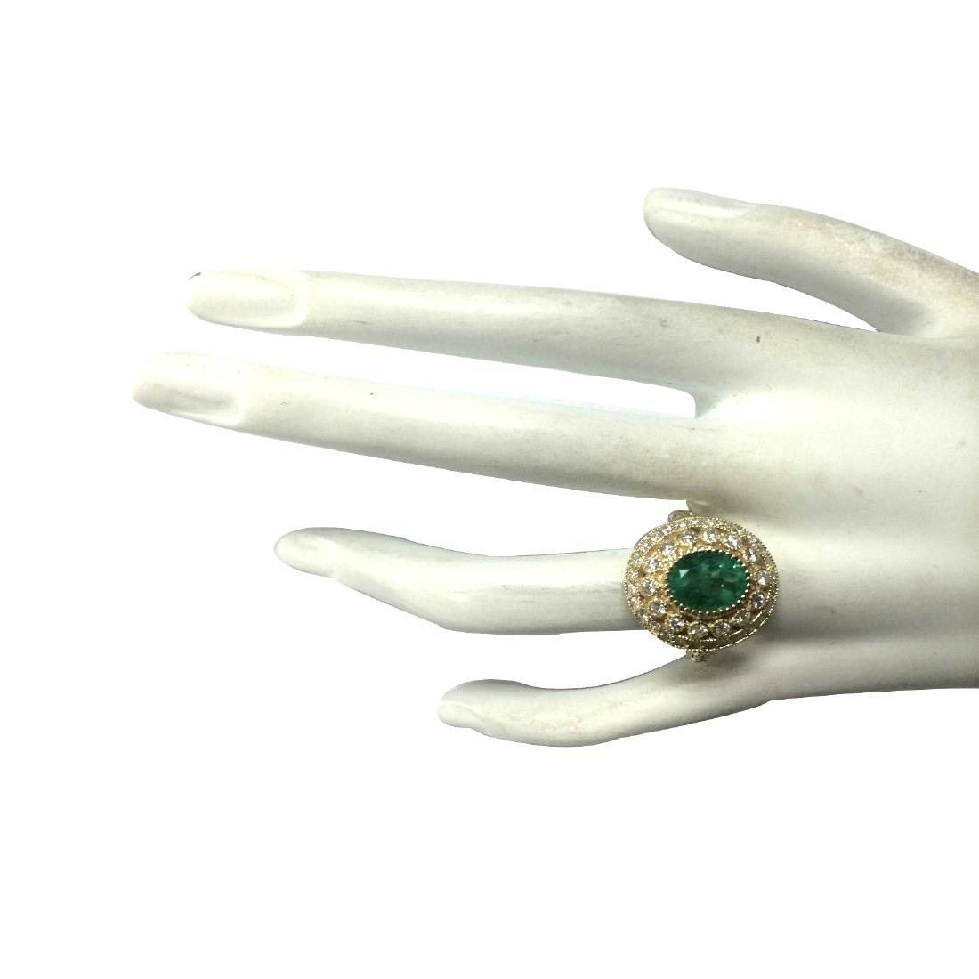 3.16CTW Natural Colombian Emerald And Diamond Ring In - 4