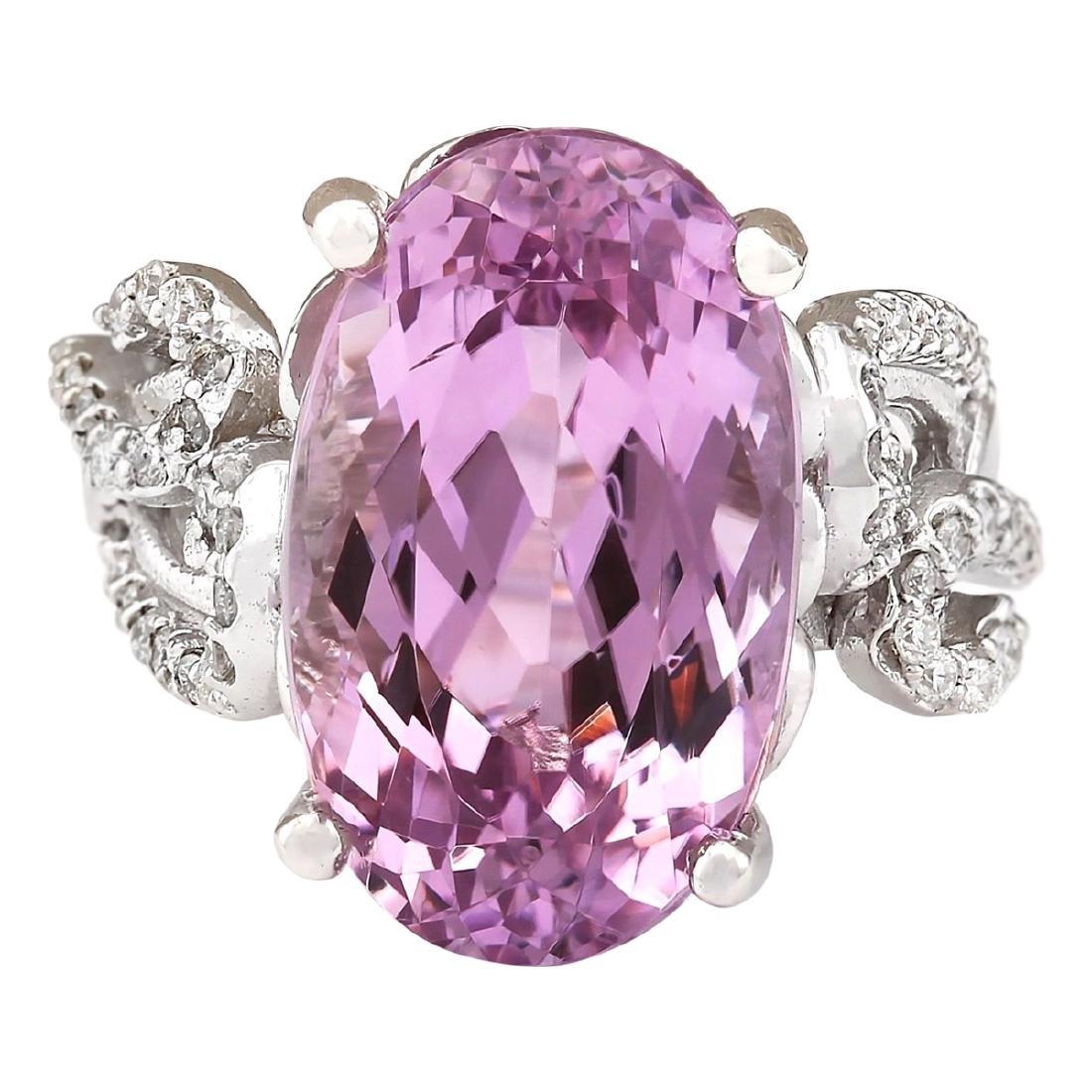 13.86 CTW Natural Kunzite And Diamond Ring In 18K White
