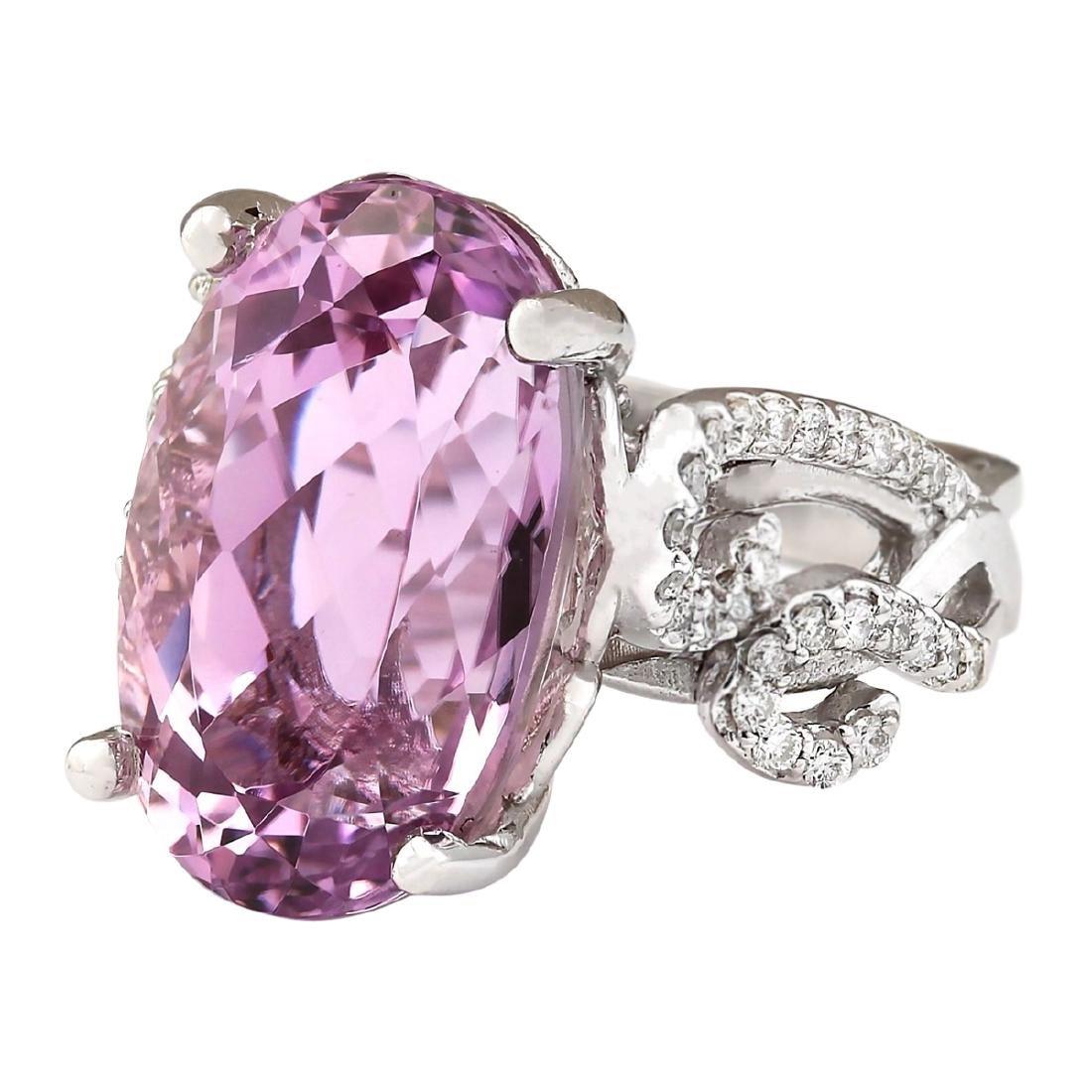 13.86 CTW Natural Kunzite And Diamond Ring In 18K White - 2
