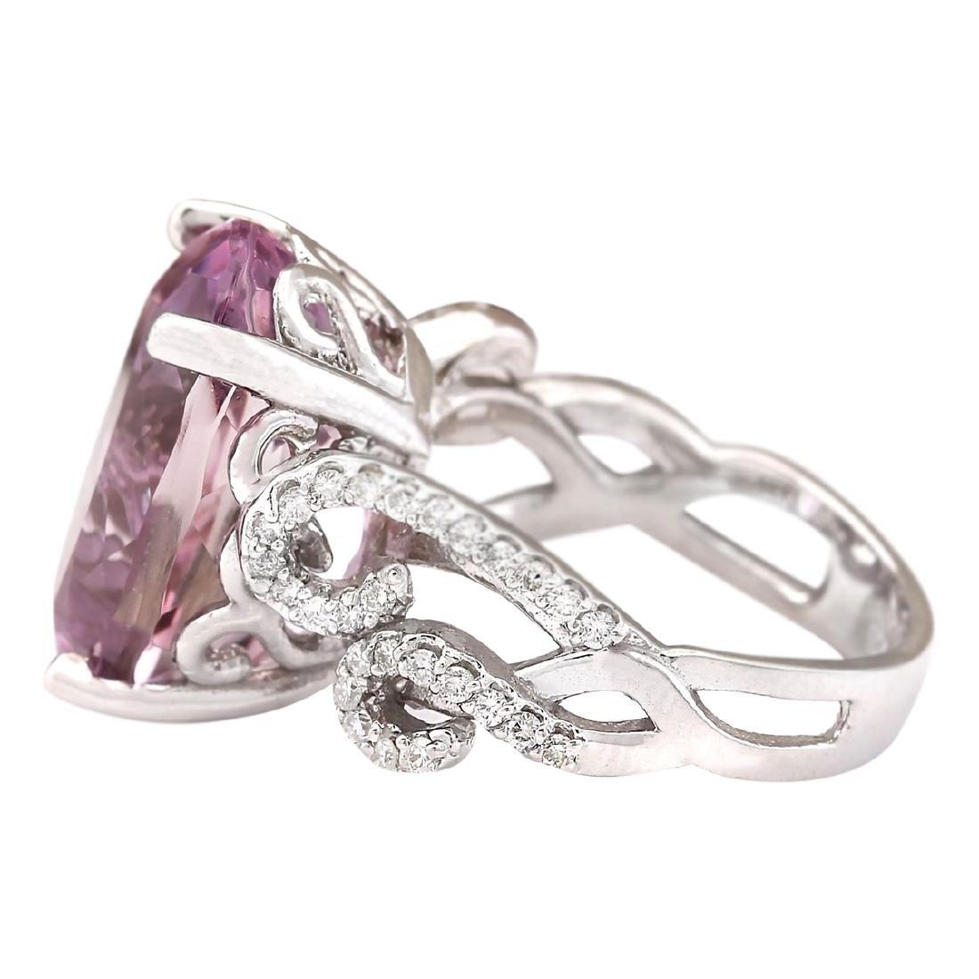 13.86 CTW Natural Kunzite And Diamond Ring In 18K White - 3