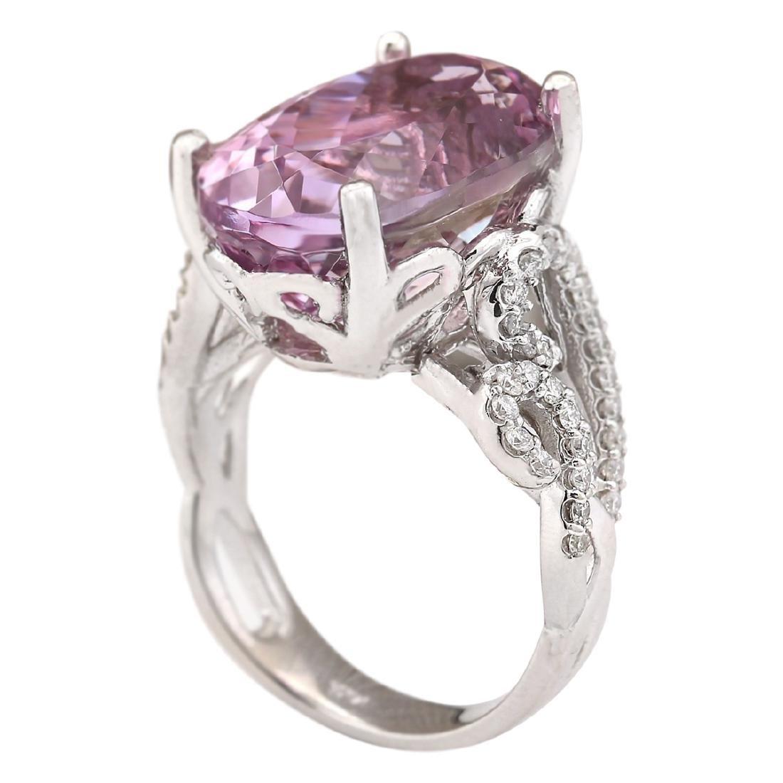 13.86 CTW Natural Kunzite And Diamond Ring In 18K White - 4