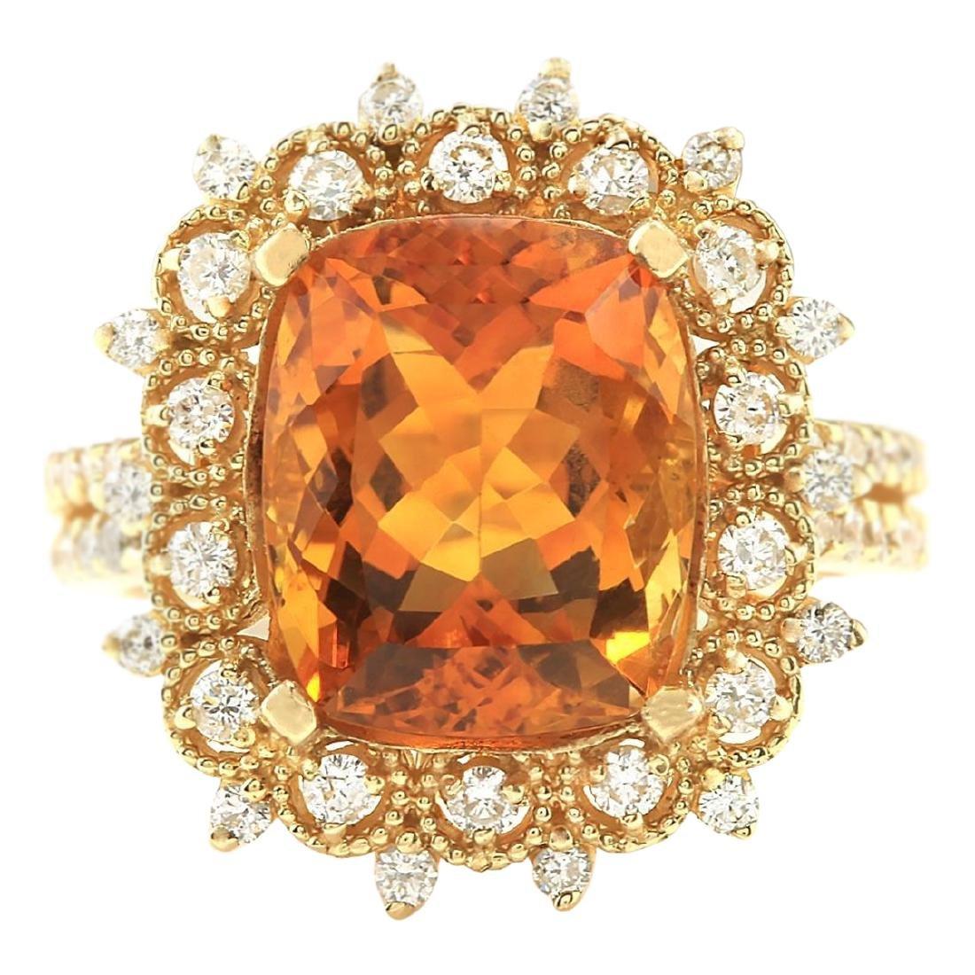 6.39 CTW Natural Madeira Citrine And Diamond Ring 18K
