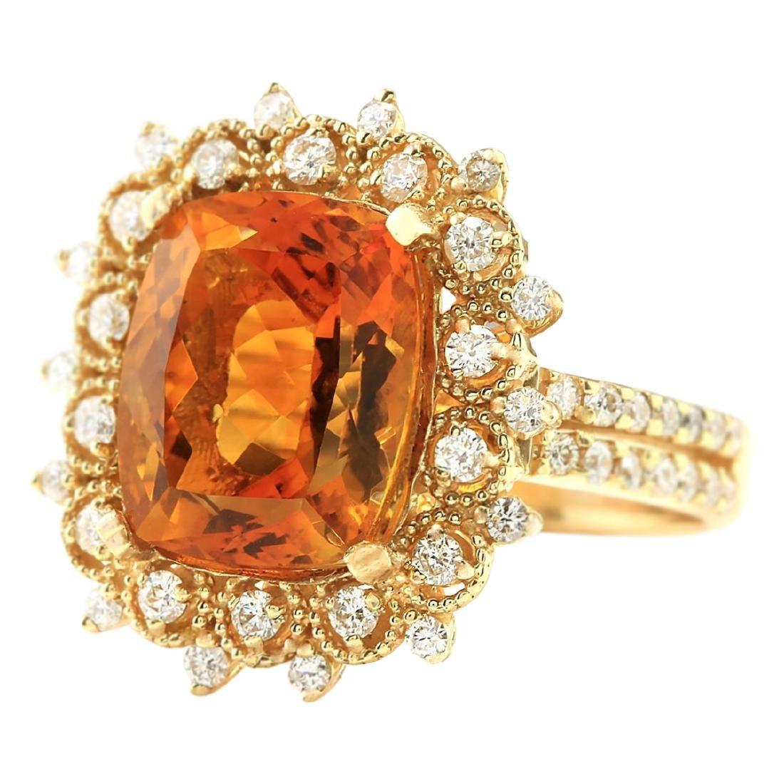 6.39 CTW Natural Madeira Citrine And Diamond Ring 18K - 2
