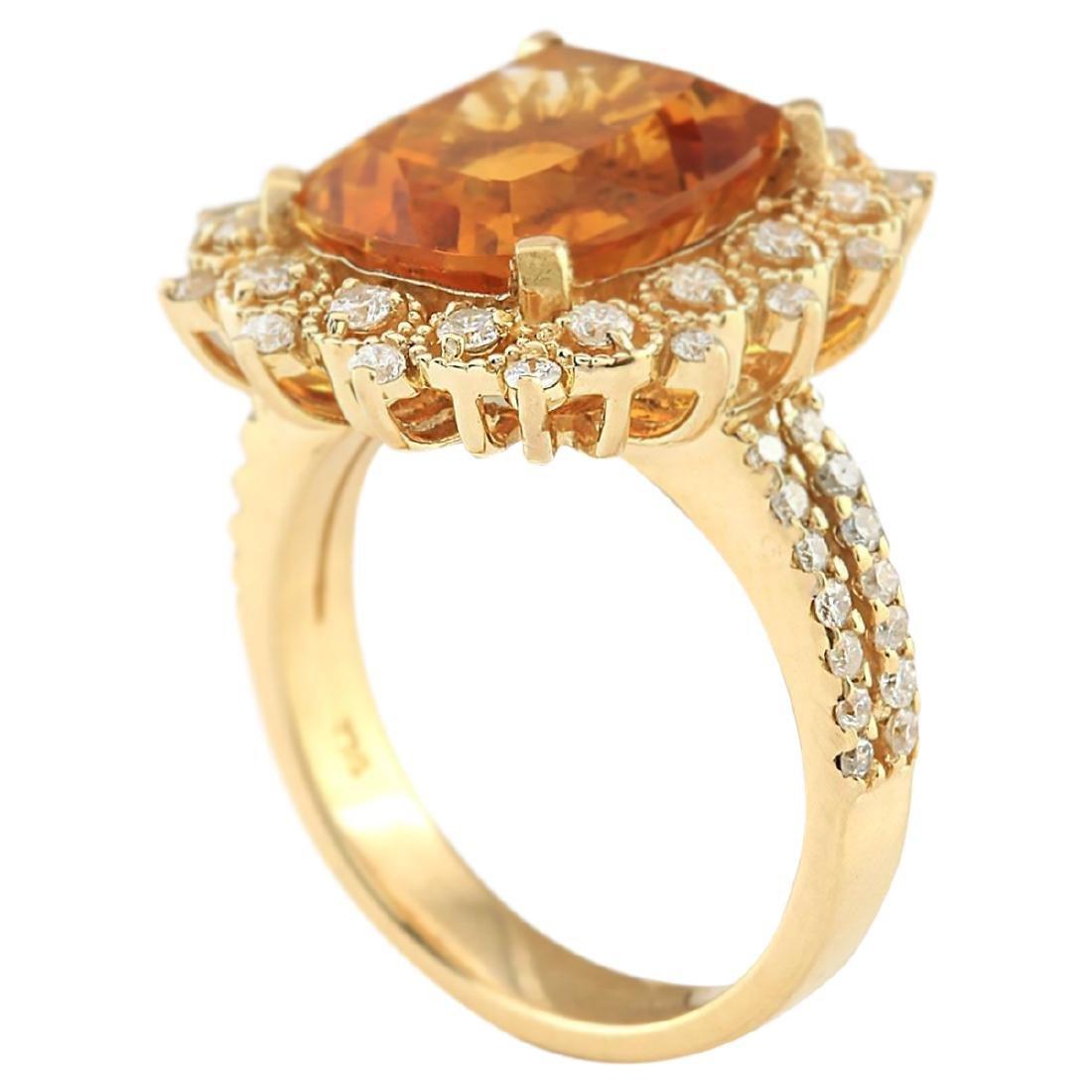 6.39 CTW Natural Madeira Citrine And Diamond Ring 18K - 3
