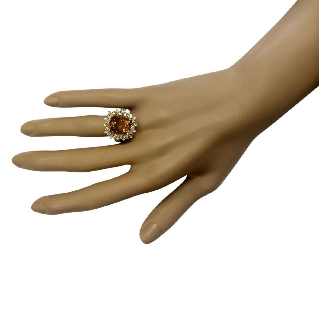 6.39 CTW Natural Madeira Citrine And Diamond Ring 18K - 4