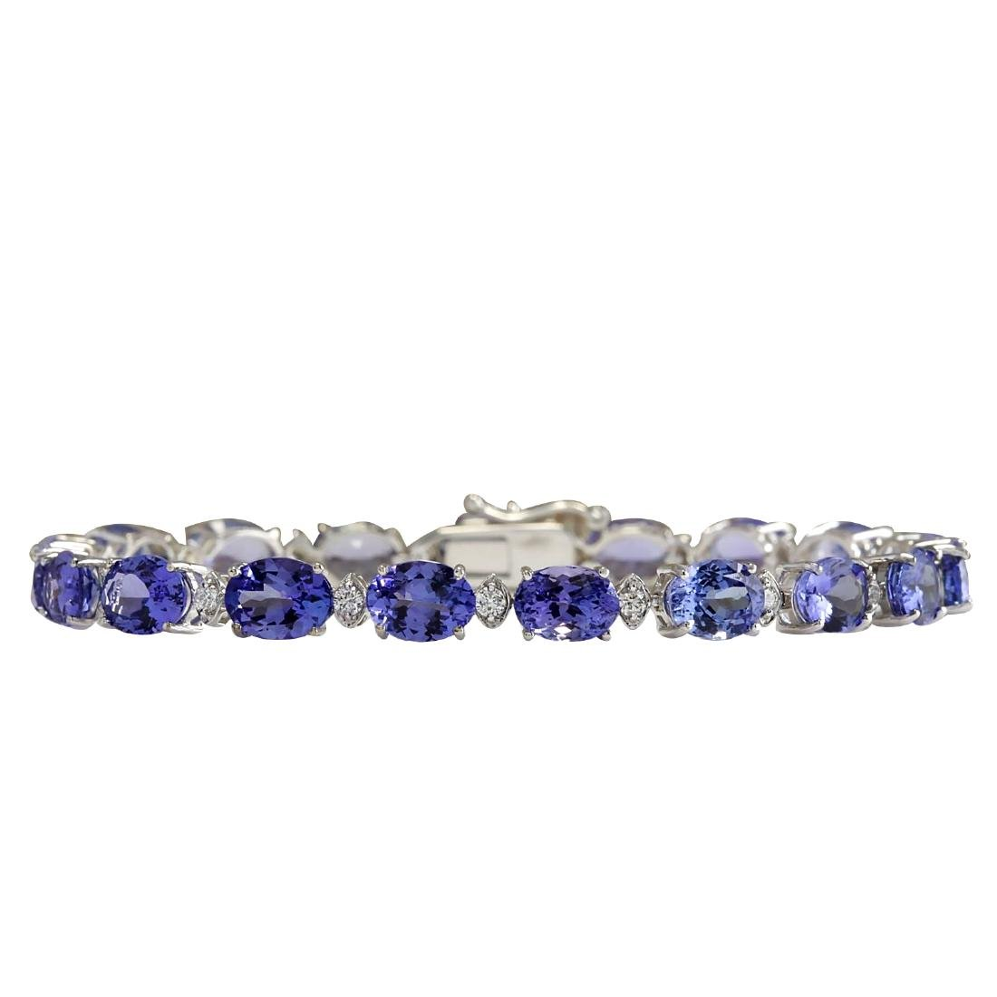 23.35CTW Natural Tanzanite And Diamond Bracelet In 18K