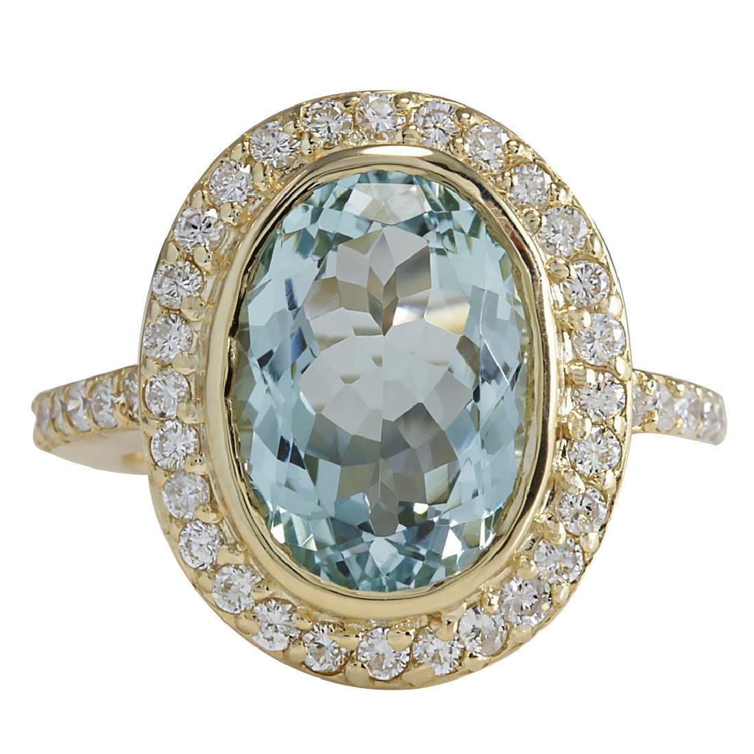 6.35CTW Natural Aquamarine And Diamond Ring In 18K
