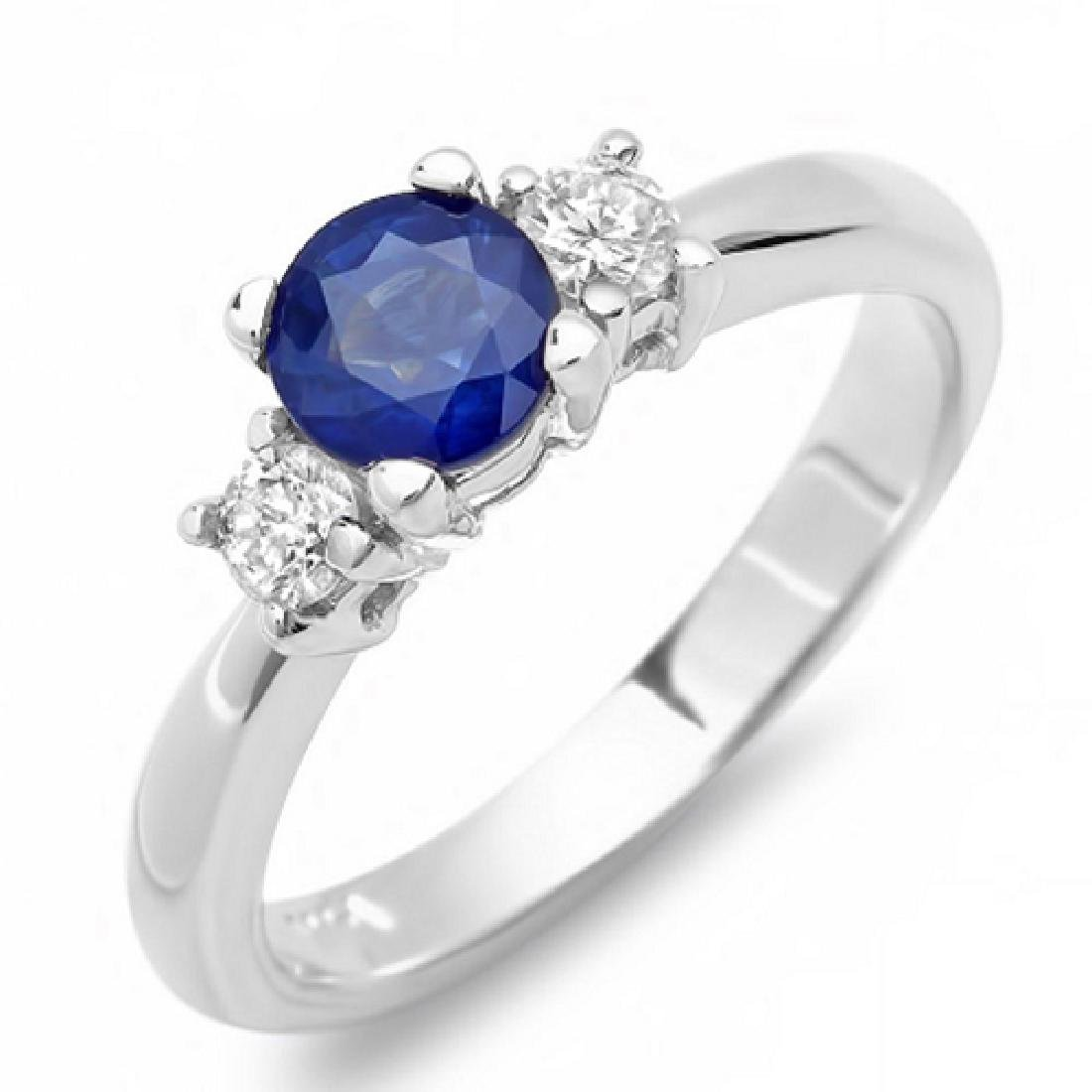 1.18 Carat Natural Sapphire 18K Solid White Gold