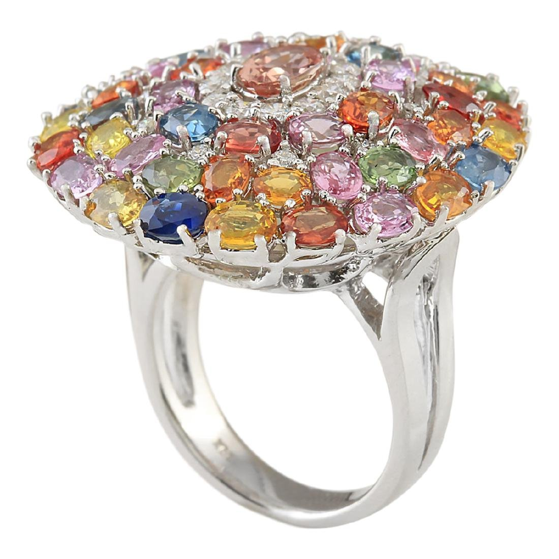9.19 CTW Natural Sapphire And Diamond Ring In 18K White - 3