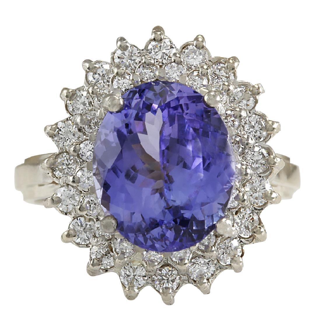 6.18CTW Natural Blue Tanzanite And Diamond Ring 18K