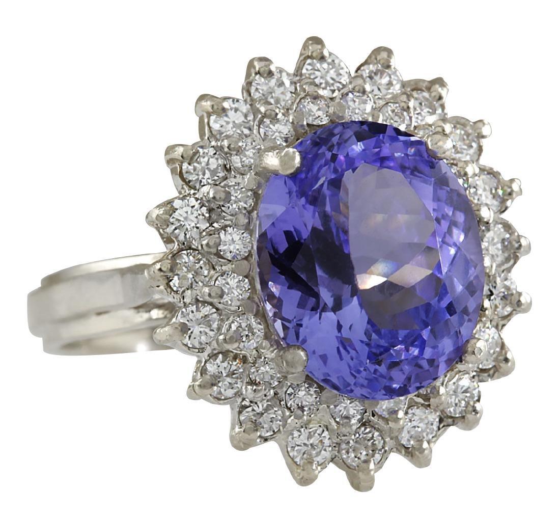 6.18CTW Natural Blue Tanzanite And Diamond Ring 18K - 2