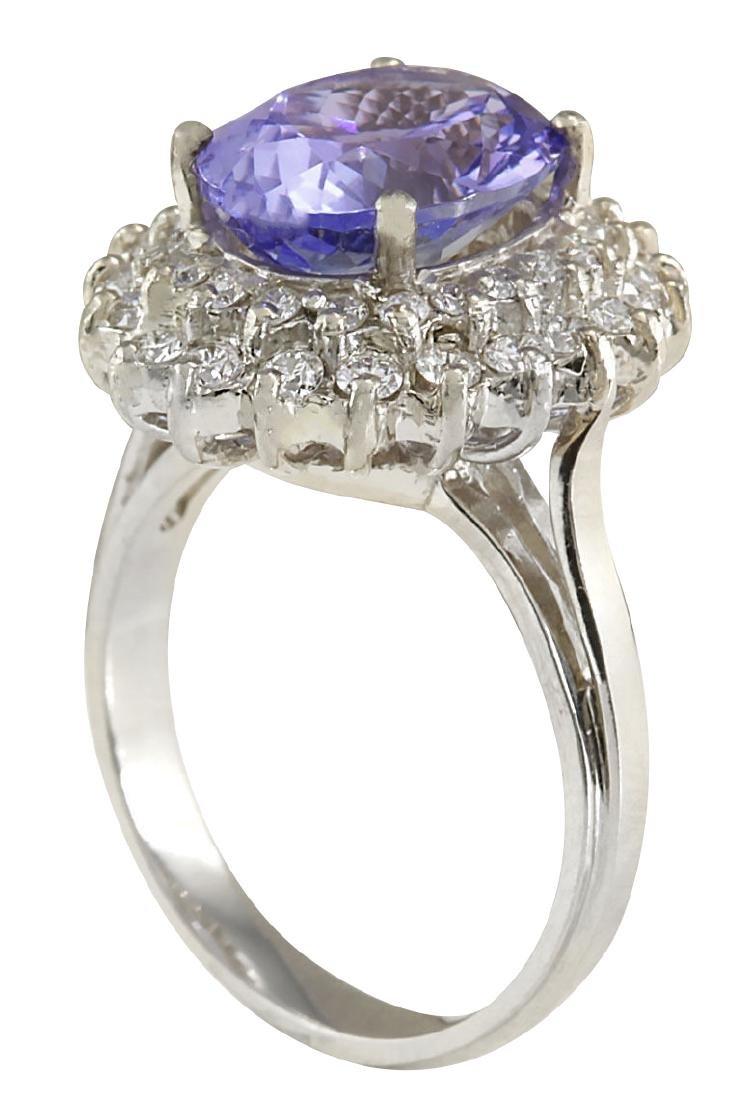 6.18CTW Natural Blue Tanzanite And Diamond Ring 18K - 3