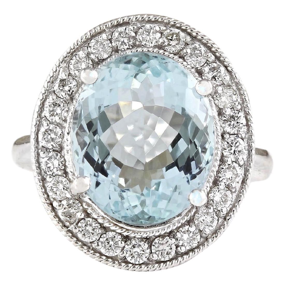 6.98 CTW Natural Aquamarine And Diamond Ring In 18K