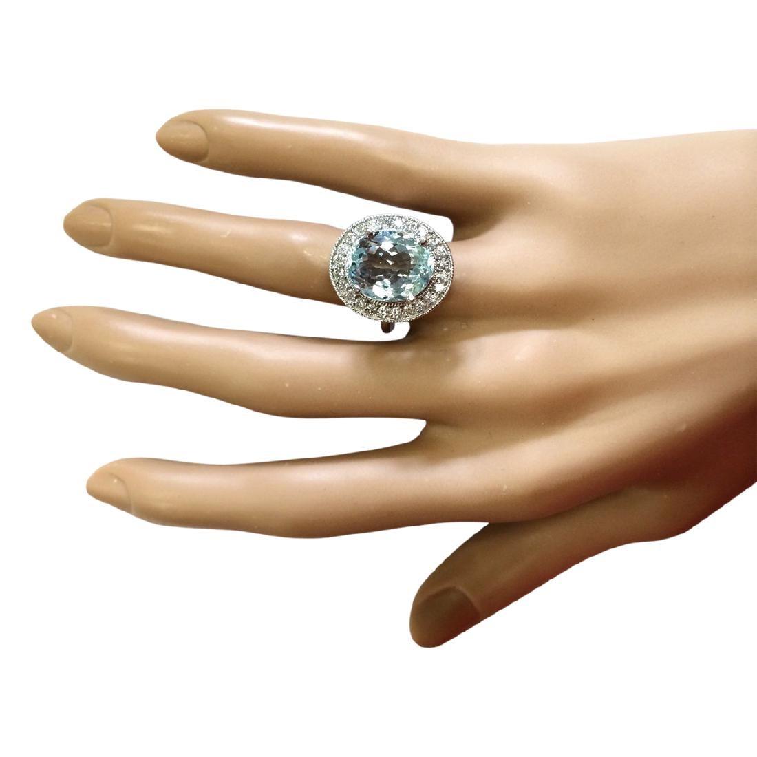 6.98 CTW Natural Aquamarine And Diamond Ring In 18K - 4