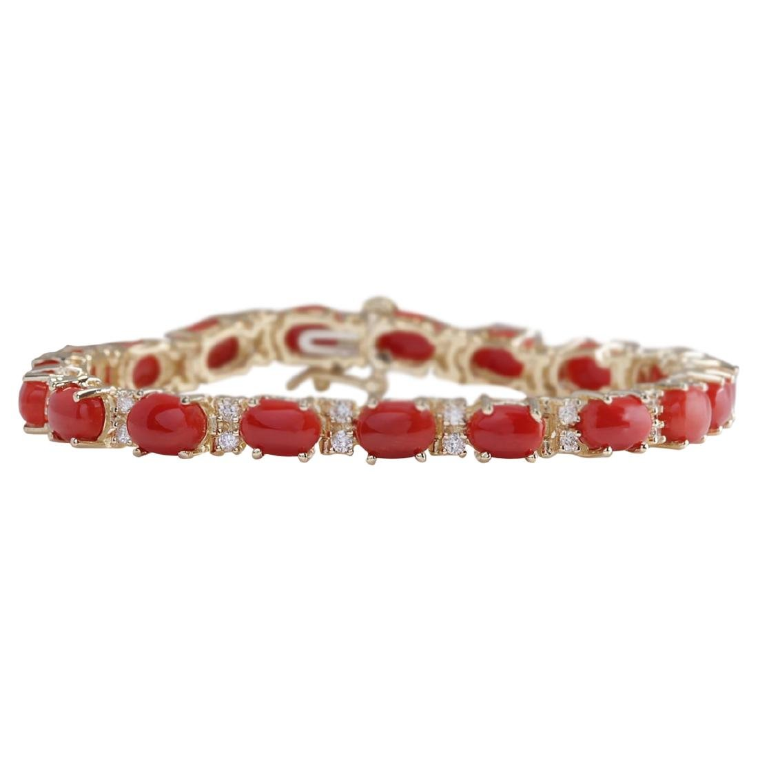 18.44 CTW Natural Red Coral And Dimond Bracelet In 18K