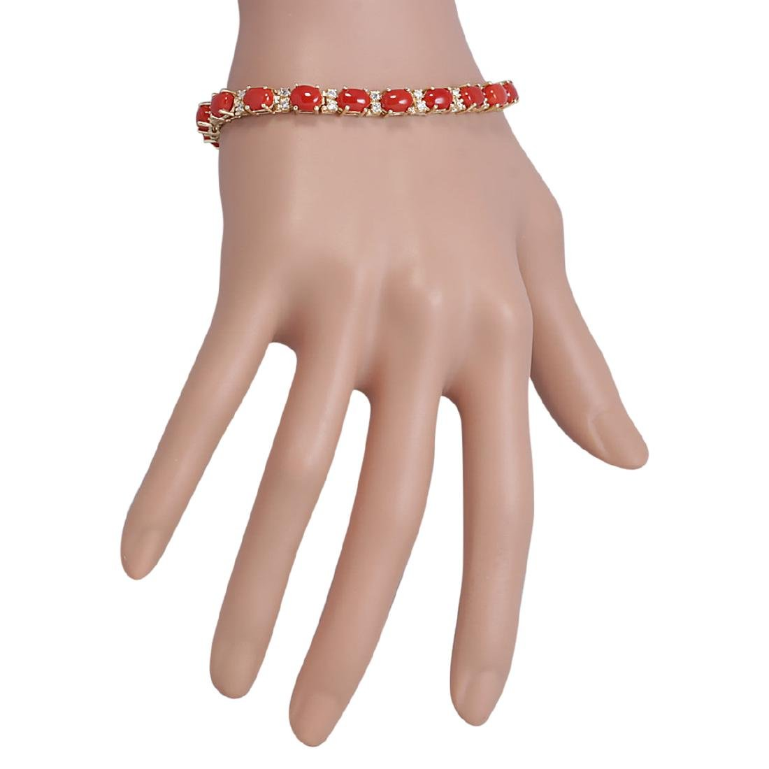 18.44 CTW Natural Red Coral And Dimond Bracelet In 18K - 3