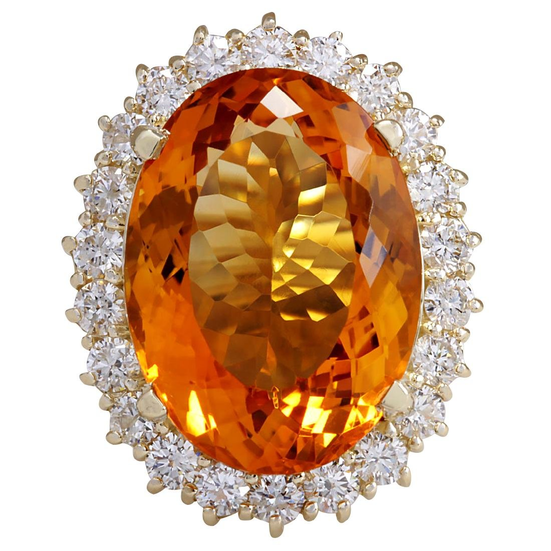 17.91CTW Natural Citrine And Diamond Ring In 18K Solid