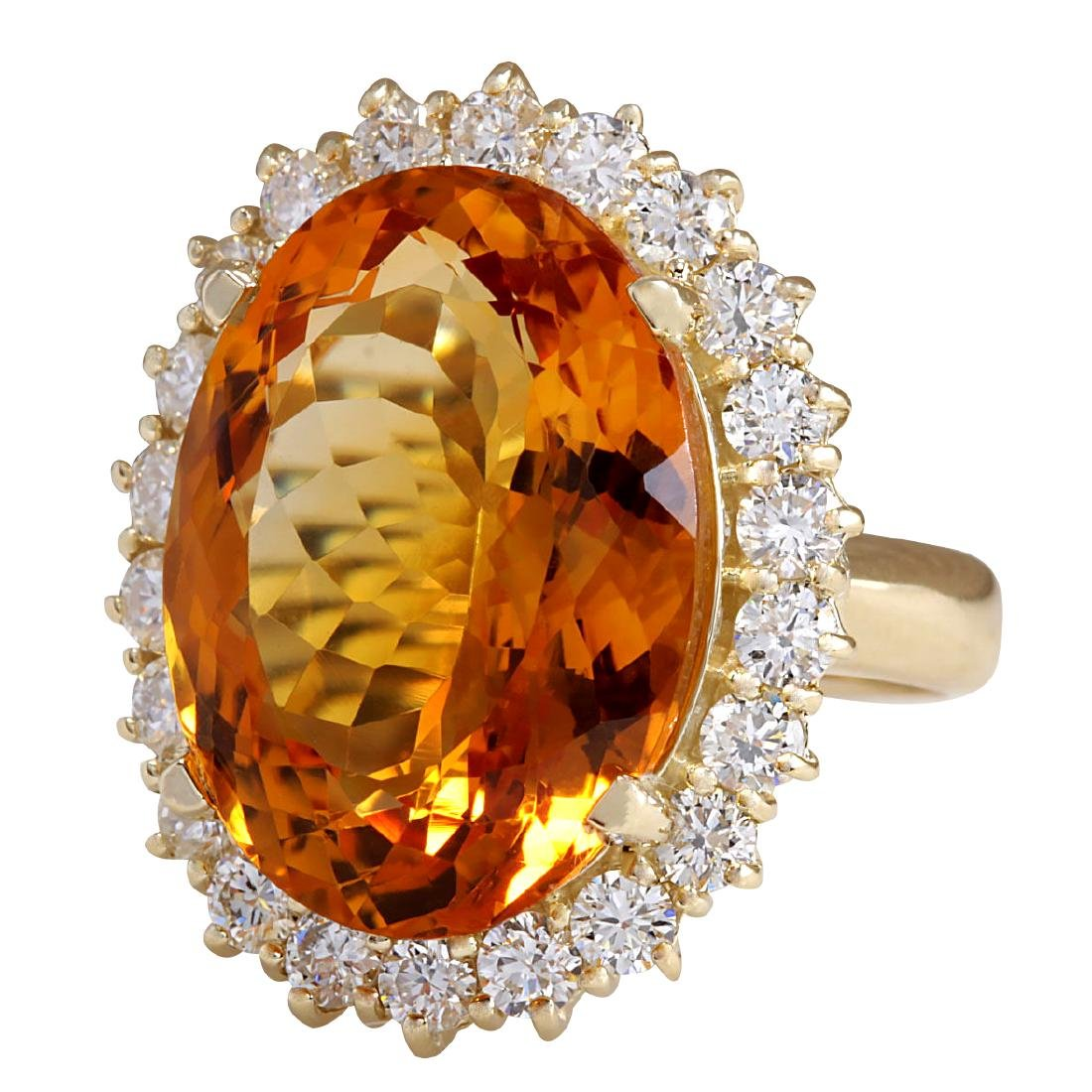 17.91CTW Natural Citrine And Diamond Ring In 18K Solid - 2