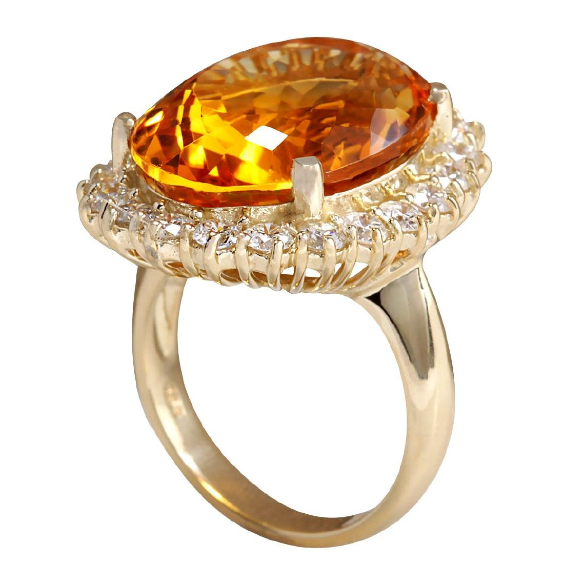 17.91CTW Natural Citrine And Diamond Ring In 18K Solid - 3