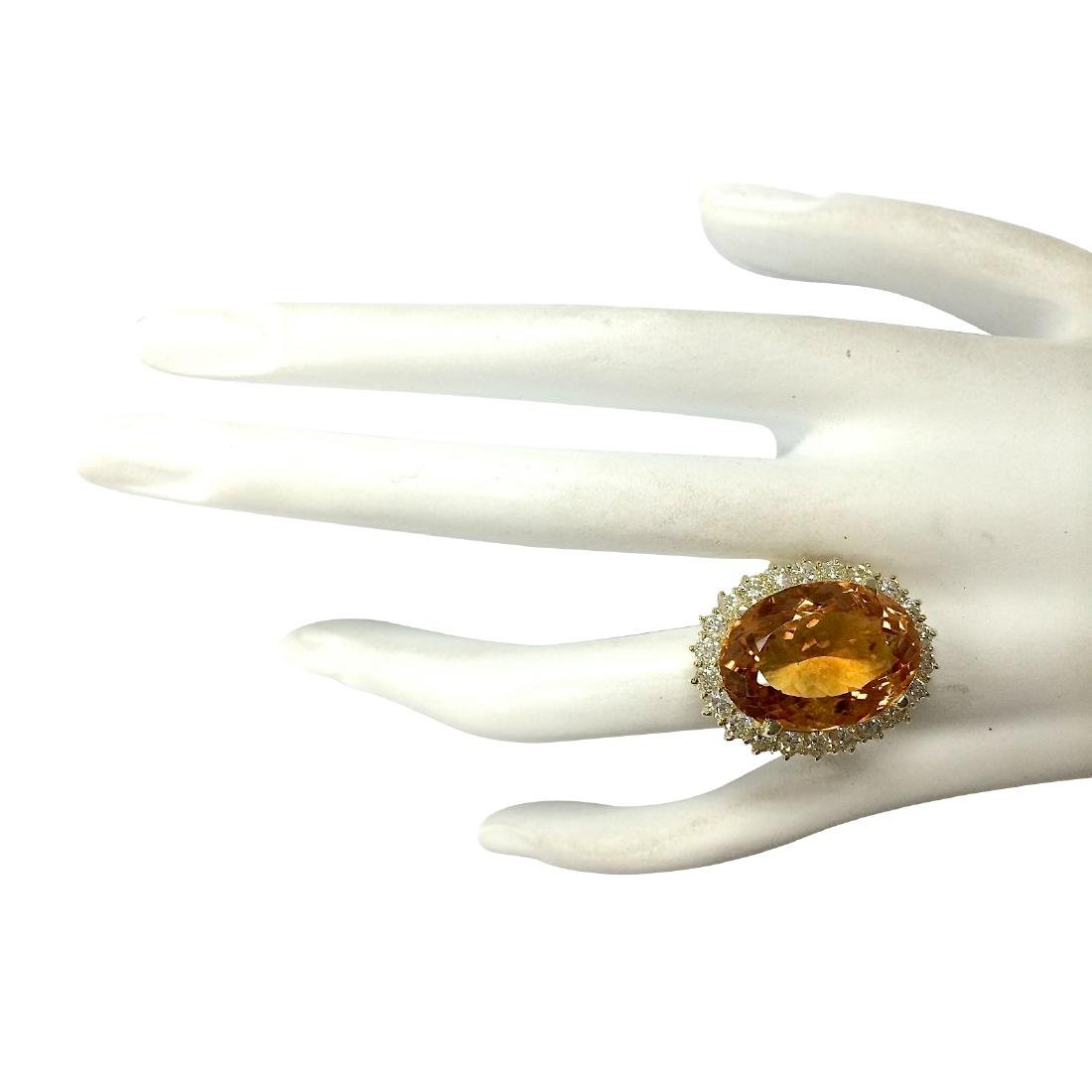 17.91CTW Natural Citrine And Diamond Ring In 18K Solid - 4