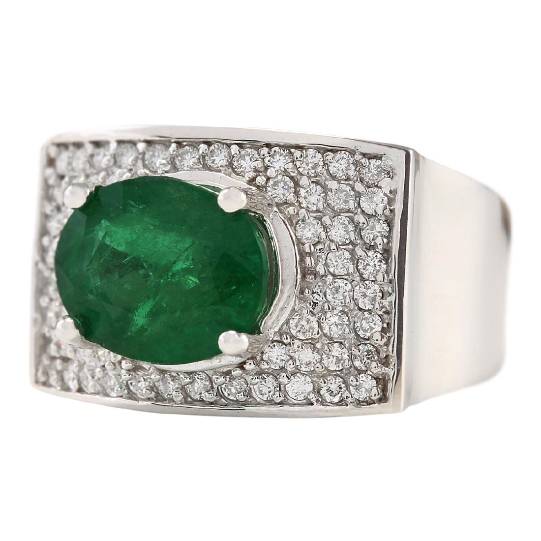 4.78 CTW Natural Emerald And Diamond Ring In 18K White - 2
