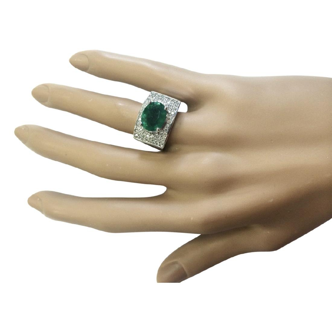 4.78 CTW Natural Emerald And Diamond Ring In 18K White - 4