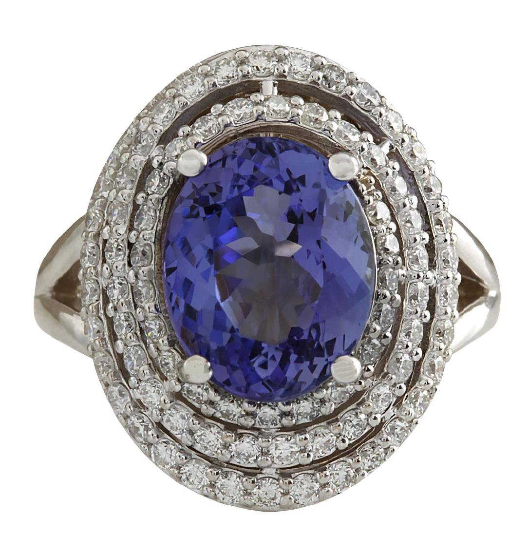 5.89CTW Natural Blue Tanzanite And Diamond Ring In 18K