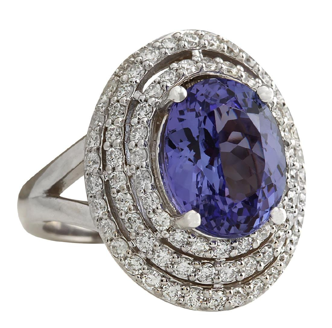 5.89CTW Natural Blue Tanzanite And Diamond Ring In 18K - 2