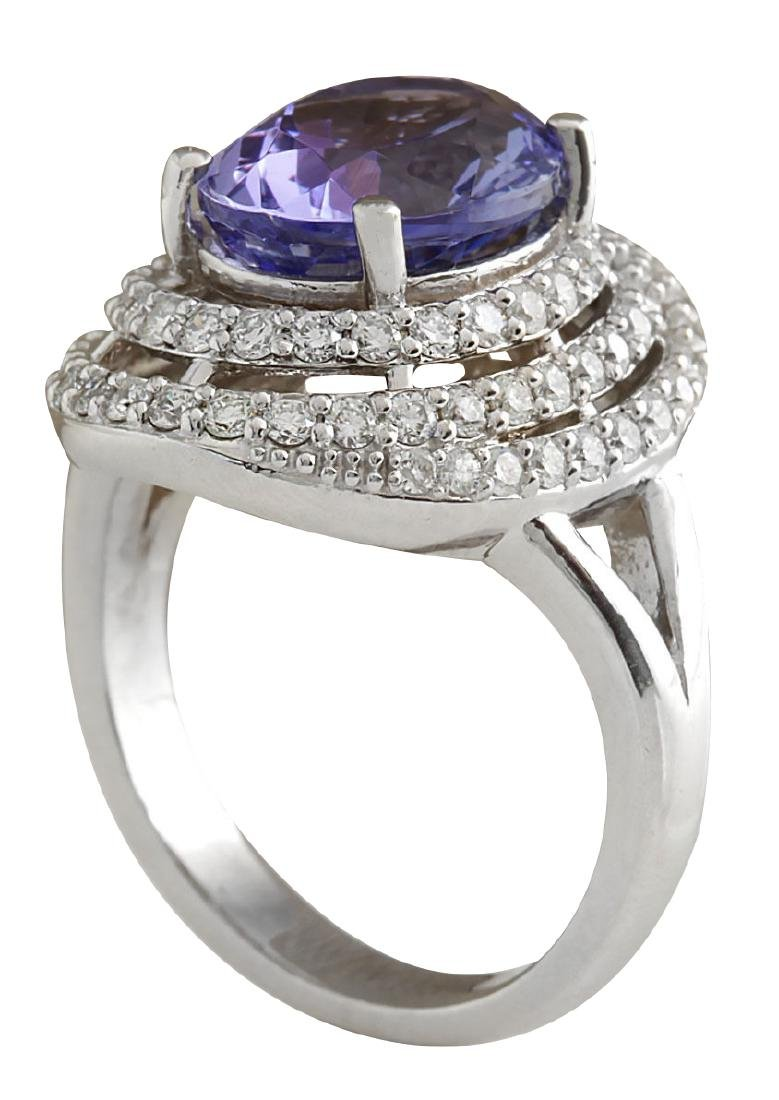5.89CTW Natural Blue Tanzanite And Diamond Ring In 18K - 3