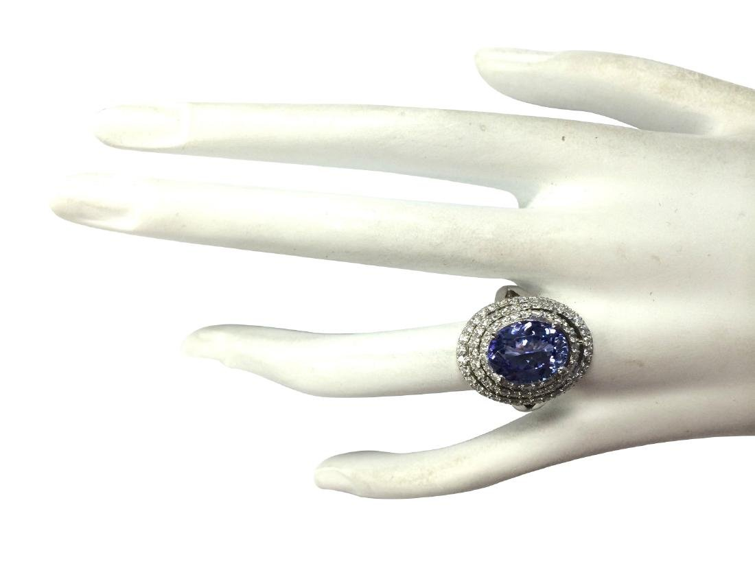 5.89CTW Natural Blue Tanzanite And Diamond Ring In 18K - 4