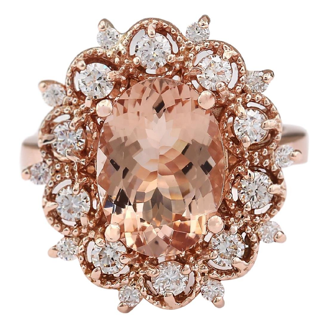 4.58 CTW Natural Morganite And Diamond Ring In 18K Rose