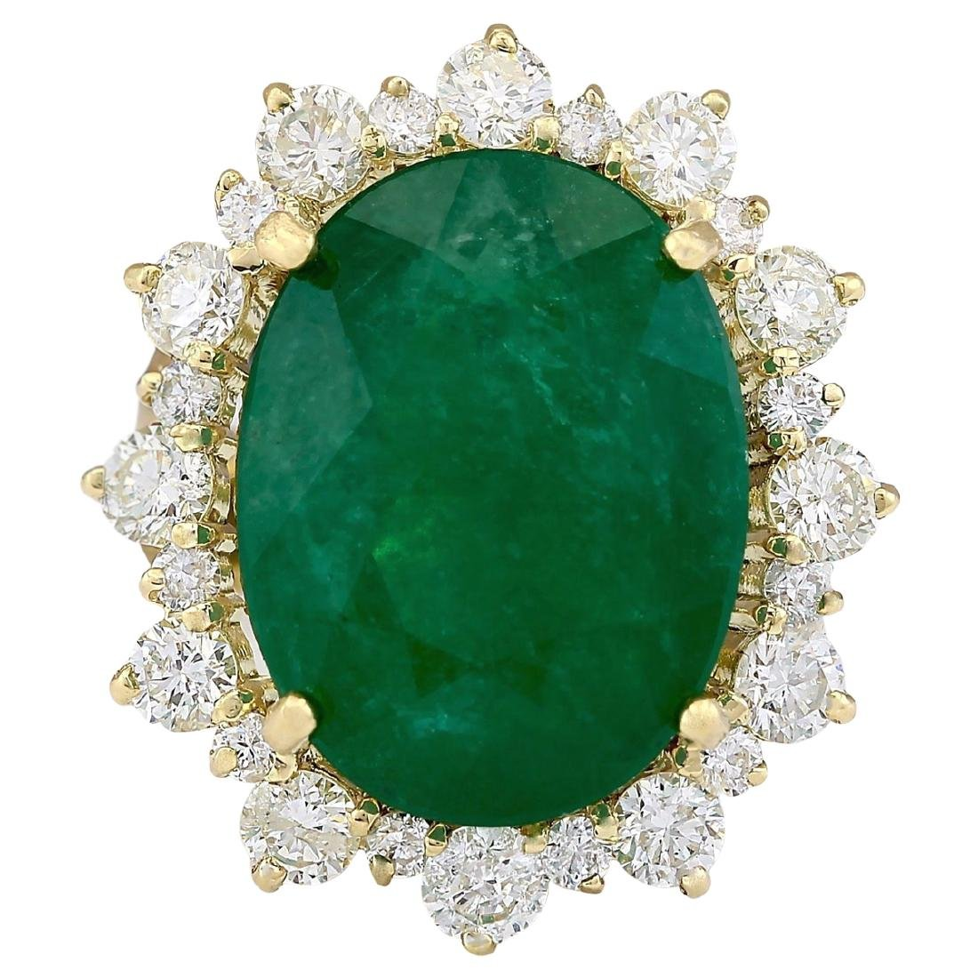 18.59 CTW Natural Emerald And Diamond Ring In 18K