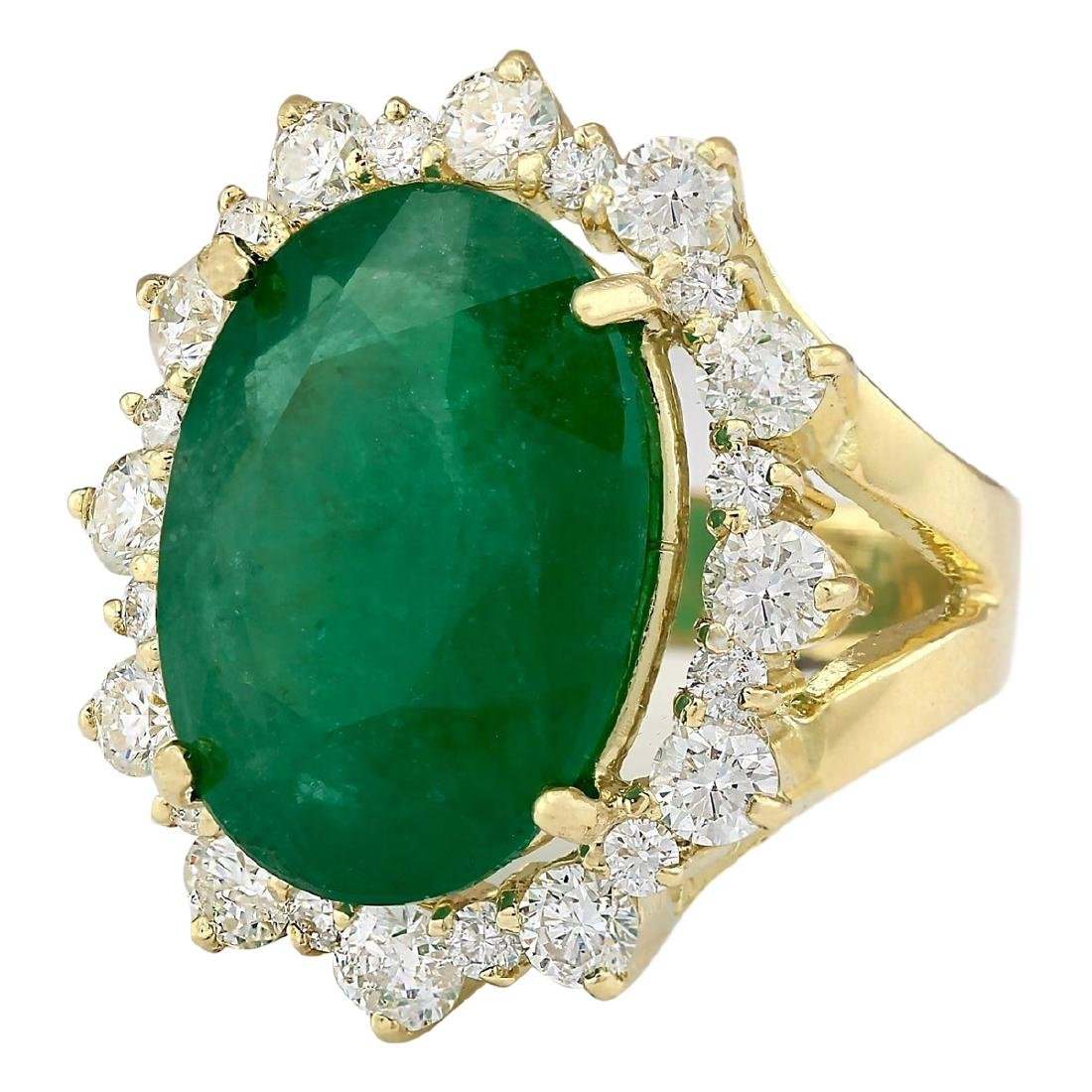 18.59 CTW Natural Emerald And Diamond Ring In 18K - 2