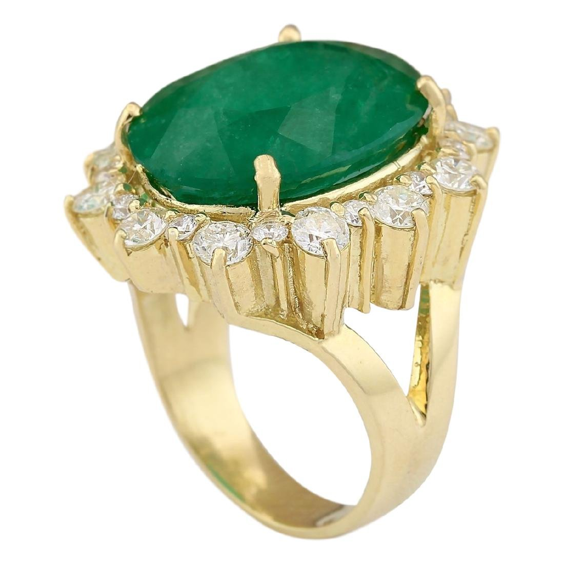 18.59 CTW Natural Emerald And Diamond Ring In 18K - 3