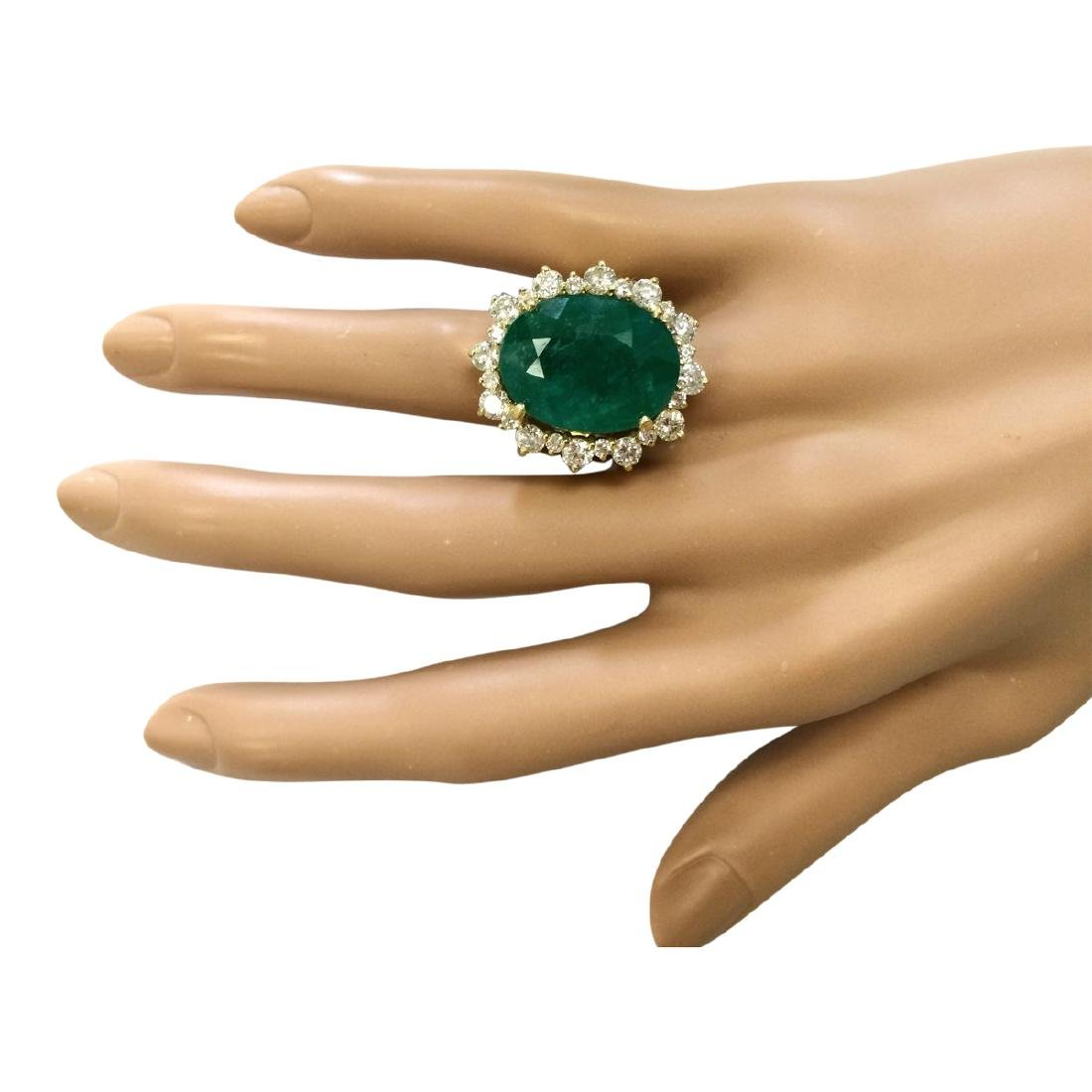 18.59 CTW Natural Emerald And Diamond Ring In 18K - 4